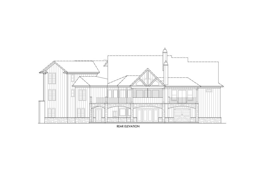 Home Plan Rear Elevation of this 5-Bedroom,4851 Sq Ft Plan -198-1133