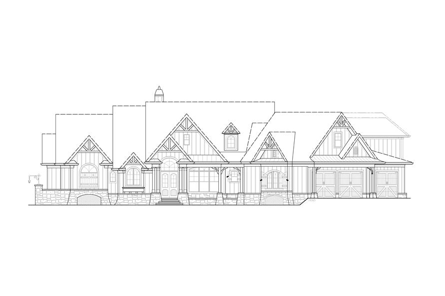 Home Plan Front Elevation of this 5-Bedroom,4851 Sq Ft Plan -198-1133