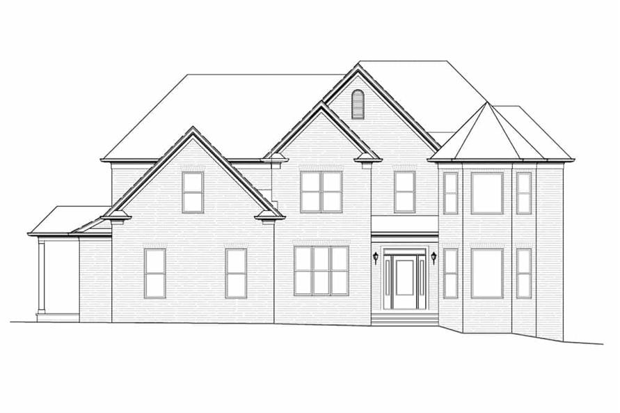 Home Plan Front Elevation of this 4-Bedroom,3461 Sq Ft Plan -198-1134