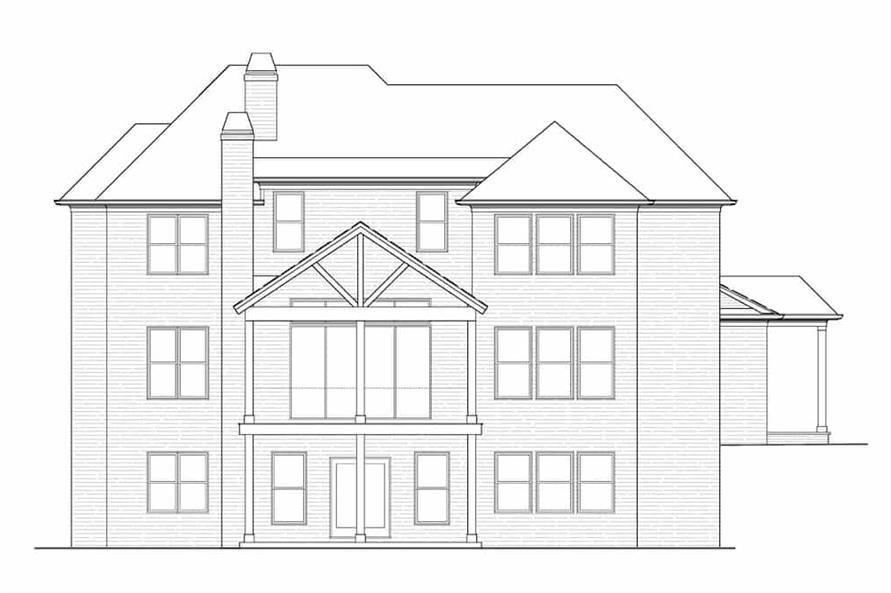Home Plan Rear Elevation of this 4-Bedroom,3461 Sq Ft Plan -198-1134