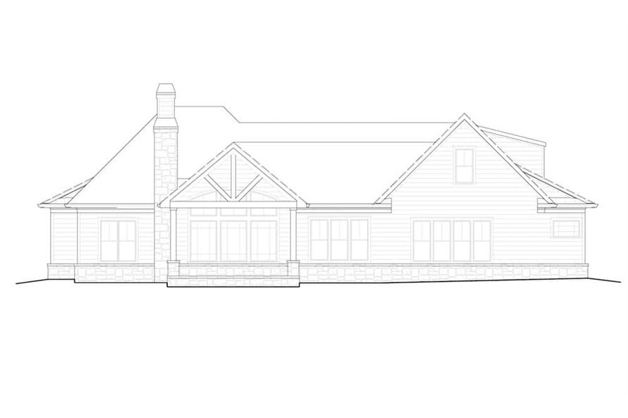 Home Plan Rear Elevation of this 4-Bedroom,2880 Sq Ft Plan -198-1140