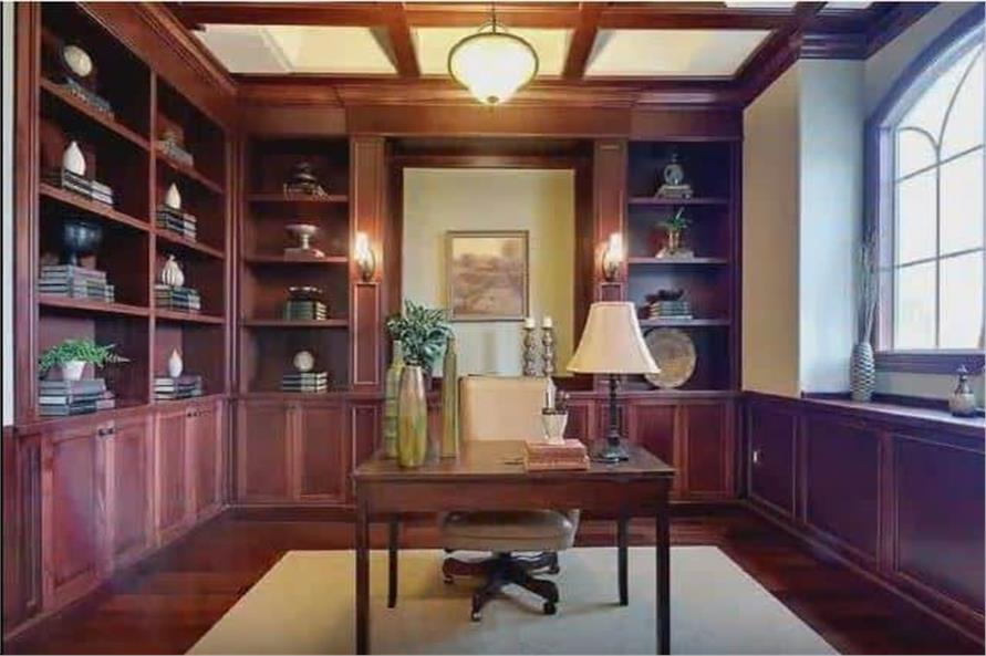Home Office: Library of this 3-Bedroom,3110 Sq Ft Plan -198-1158