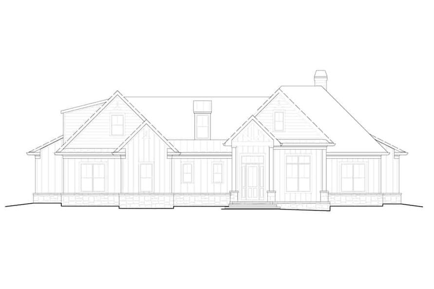 Home Plan Front Elevation of this 5-Bedroom,3154 Sq Ft Plan -198-1160