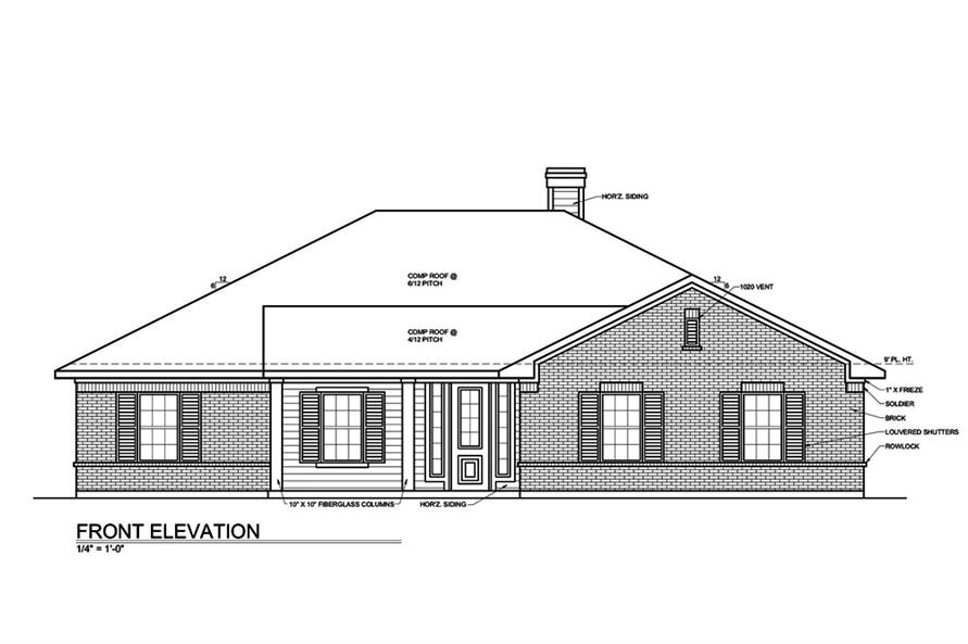 Home Plan Front Elevation of this 3-Bedroom,1649 Sq Ft Plan -199-1001