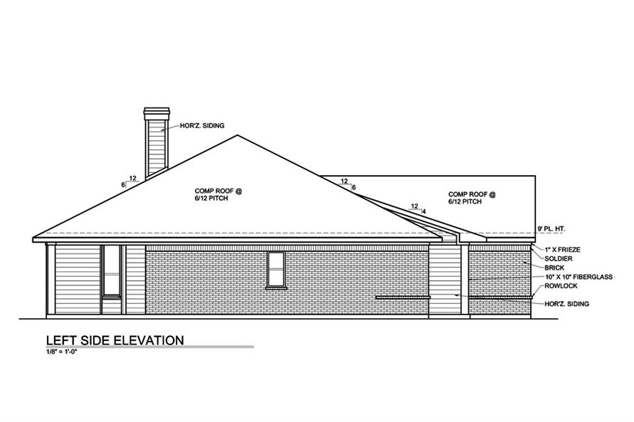 Home Plan Left Elevation of this 3-Bedroom,1649 Sq Ft Plan -199-1001