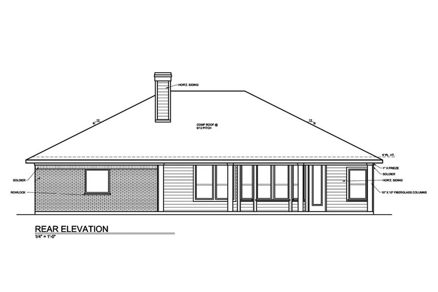 Home Plan Rear Elevation of this 3-Bedroom,1649 Sq Ft Plan -199-1001