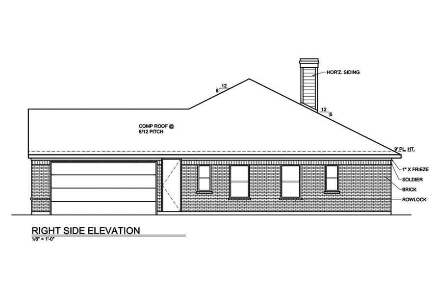 Home Plan Right Elevation of this 3-Bedroom,1649 Sq Ft Plan -199-1001