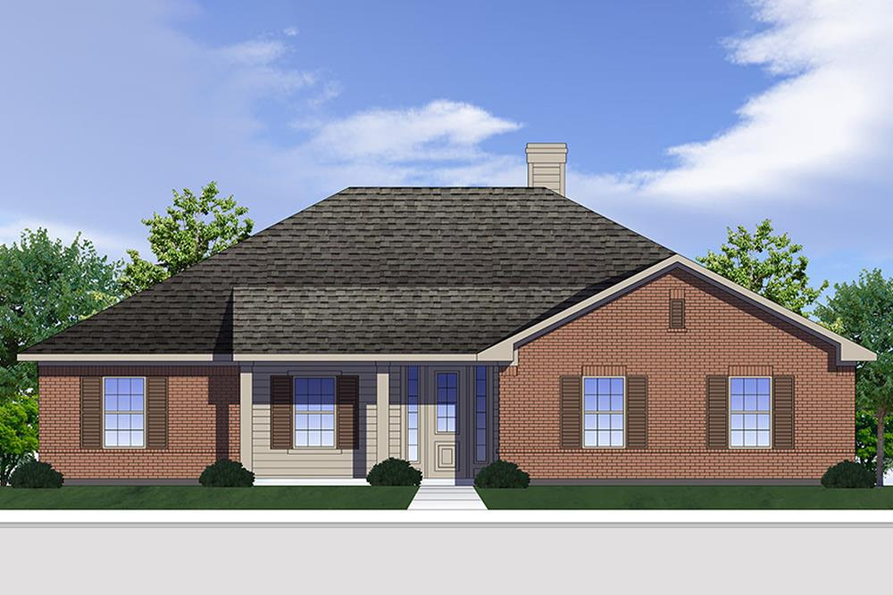 Front elevation of Traditional home plan (ThePlanCollection: House Plan #199-1001)