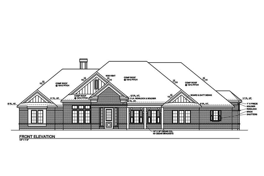 199-1002: Home Plan Front Elevation