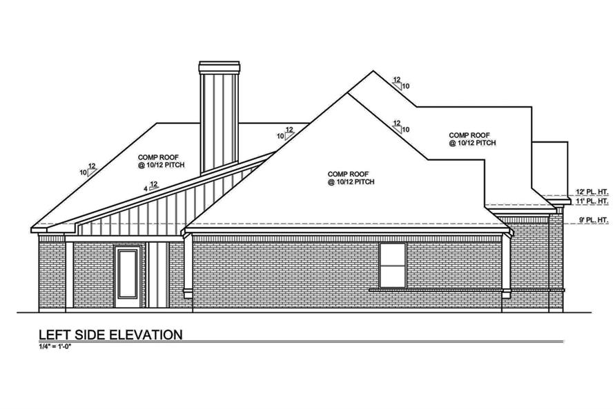 Home Plan Left Elevation of this 3-Bedroom,2549 Sq Ft Plan -199-1002
