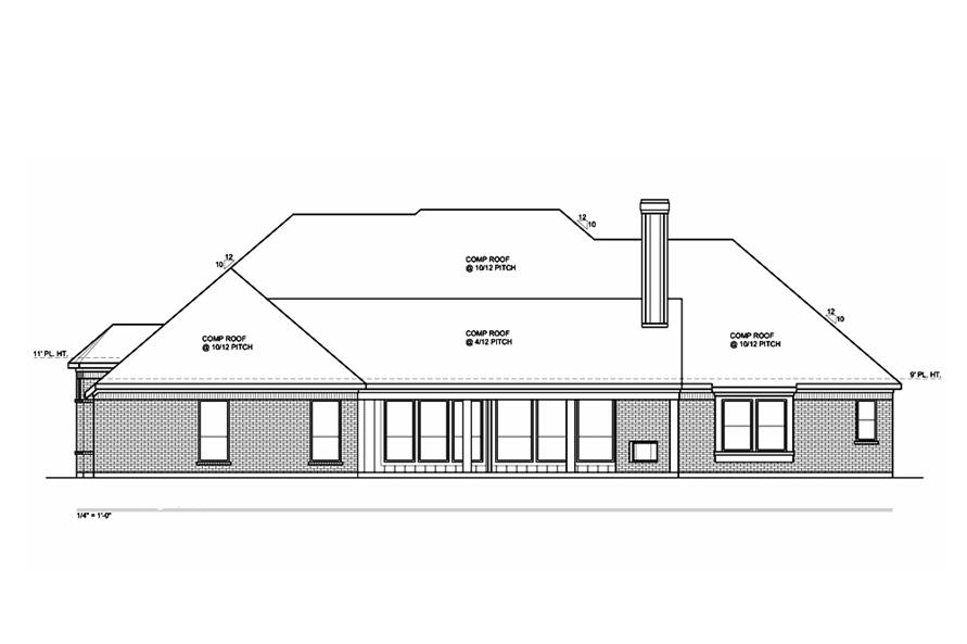 199-1002: Home Plan Rear Elevation