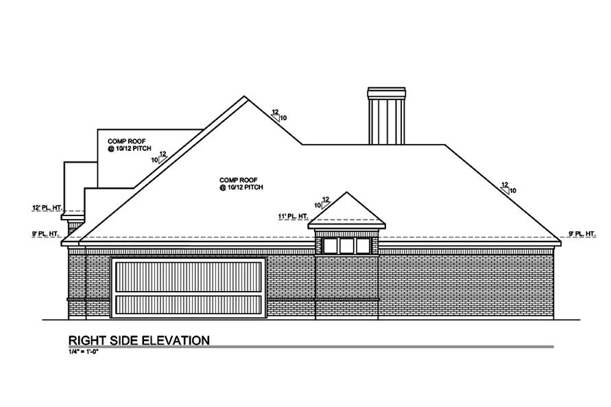Home Plan Right Elevation of this 3-Bedroom,2549 Sq Ft Plan -199-1002