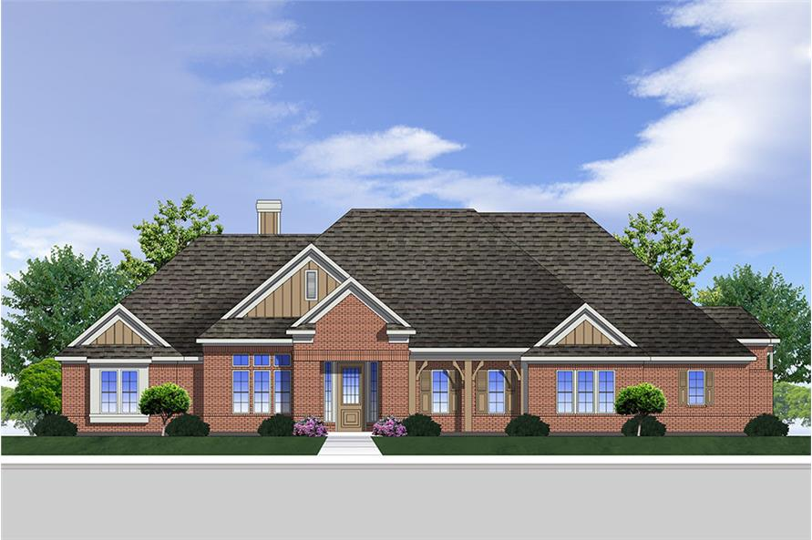 Front elevation of Traditional home plan (ThePlanCollection: House Plan #199-1002)