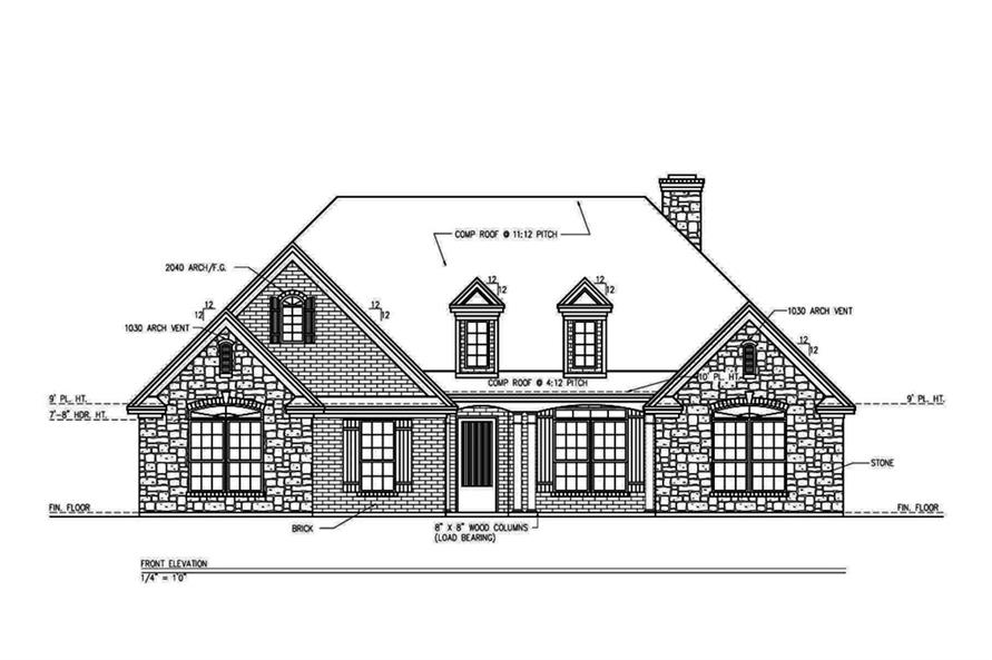 Home Plan Front Elevation of this 3-Bedroom,2361 Sq Ft Plan -199-1003