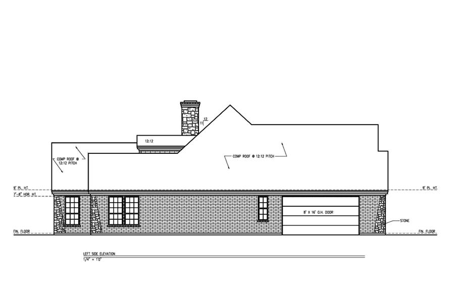 Home Plan Left Elevation of this 3-Bedroom,2361 Sq Ft Plan -199-1003