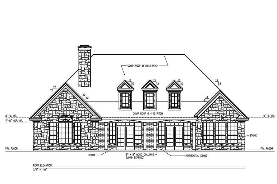 Home Plan Rear Elevation of this 3-Bedroom,2361 Sq Ft Plan -199-1003