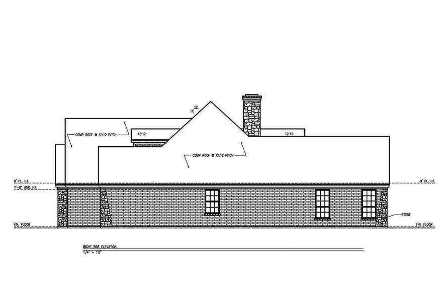Home Plan Right Elevation of this 3-Bedroom,2361 Sq Ft Plan -199-1003