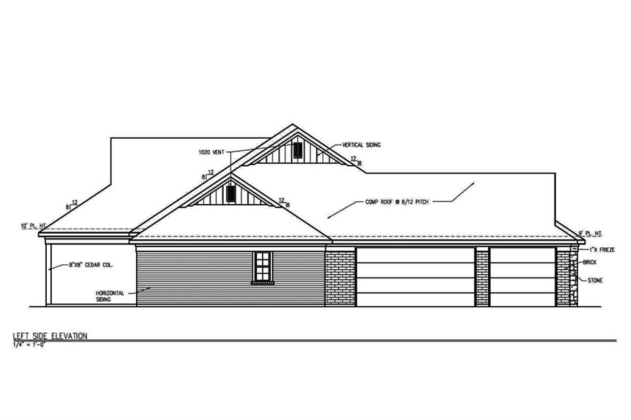 Home Plan Left Elevation of this 3-Bedroom,2101 Sq Ft Plan -199-1004