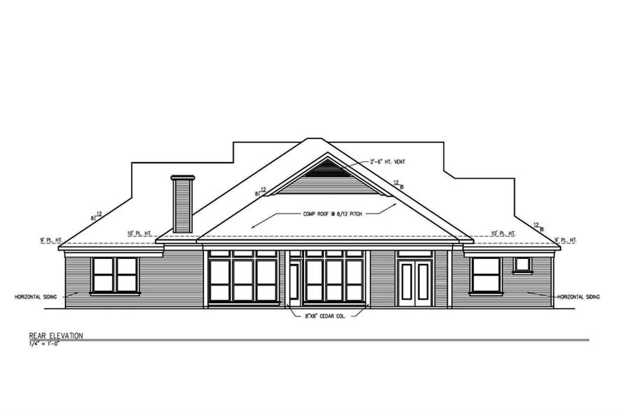Home Plan Rear Elevation of this 3-Bedroom,2101 Sq Ft Plan -199-1004