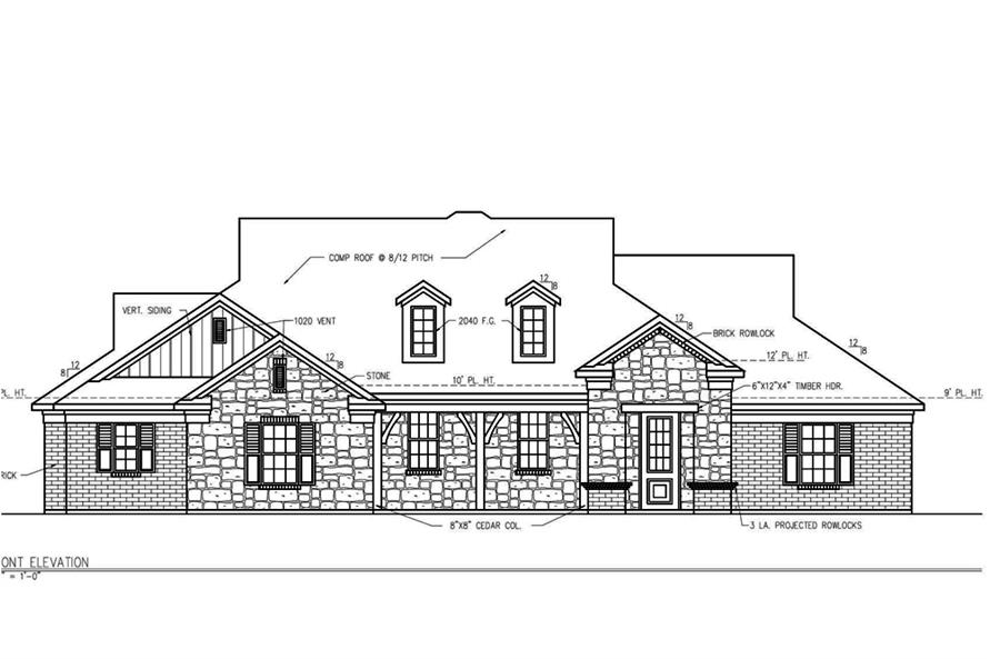 Home Plan Front Elevation of this 3-Bedroom,2101 Sq Ft Plan -199-1004