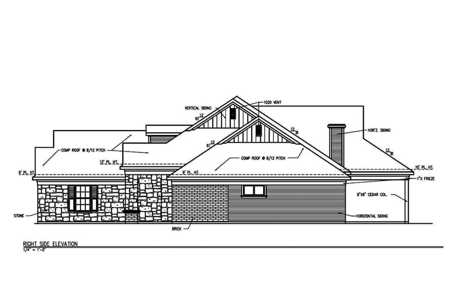 Home Plan Right Elevation of this 3-Bedroom,2101 Sq Ft Plan -199-1004