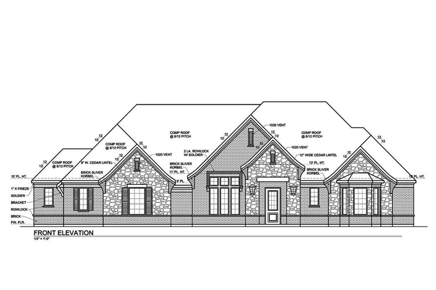 Home Plan Front Elevation of this 4-Bedroom,3333 Sq Ft Plan -199-1006