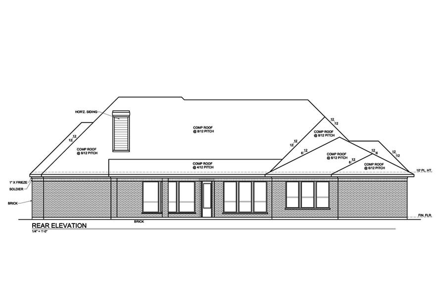 Home Plan Rear Elevation of this 4-Bedroom,3333 Sq Ft Plan -199-1006