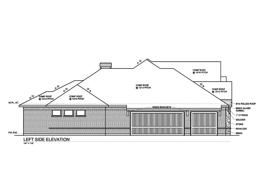 Home Plan Left Elevation of this 4-Bedroom,3333 Sq Ft Plan -199-1006