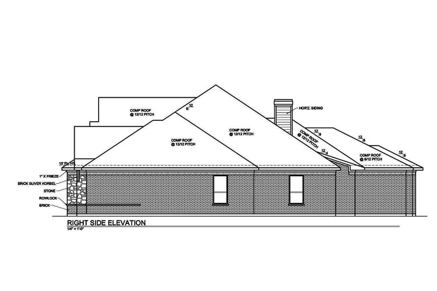 Home Plan Right Elevation of this 4-Bedroom,3333 Sq Ft Plan -199-1006