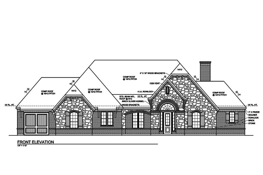 Home Plan Front Elevation of this 3-Bedroom,2435 Sq Ft Plan -199-1007