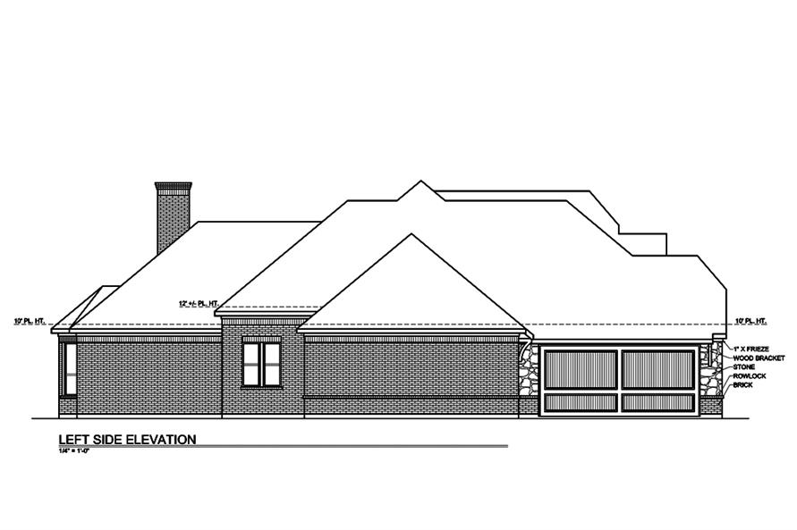 Home Plan Left Elevation of this 3-Bedroom,2435 Sq Ft Plan -199-1007