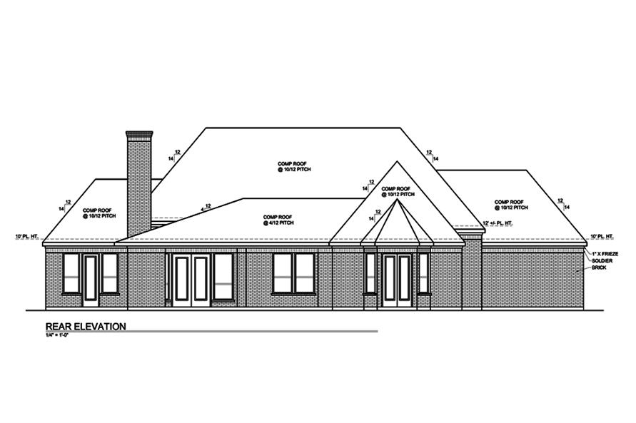 Home Plan Rear Elevation of this 3-Bedroom,2435 Sq Ft Plan -199-1007