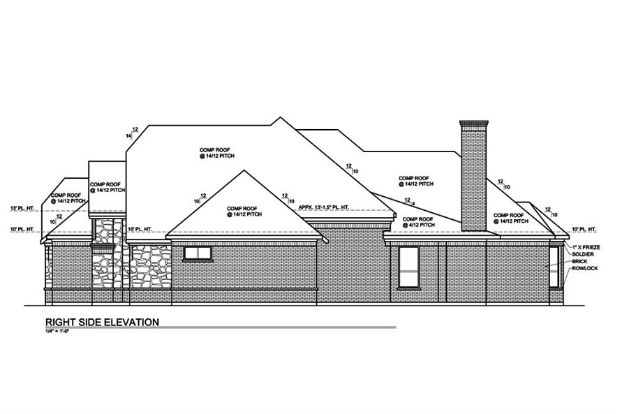 Home Plan Right Elevation of this 3-Bedroom,2435 Sq Ft Plan -199-1007