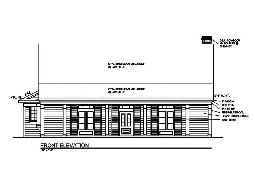 199-1008: Home Plan Front Elevation