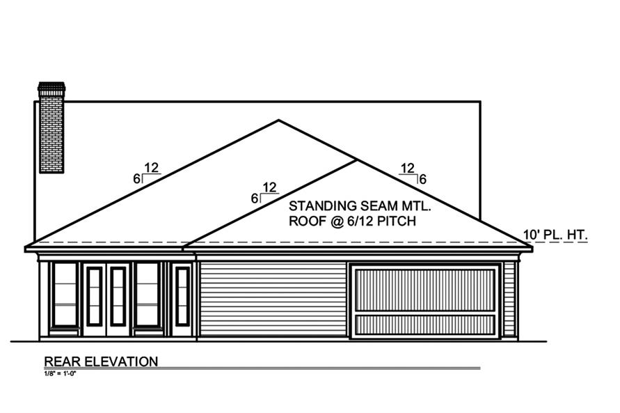 199-1008: Home Plan Rear Elevation