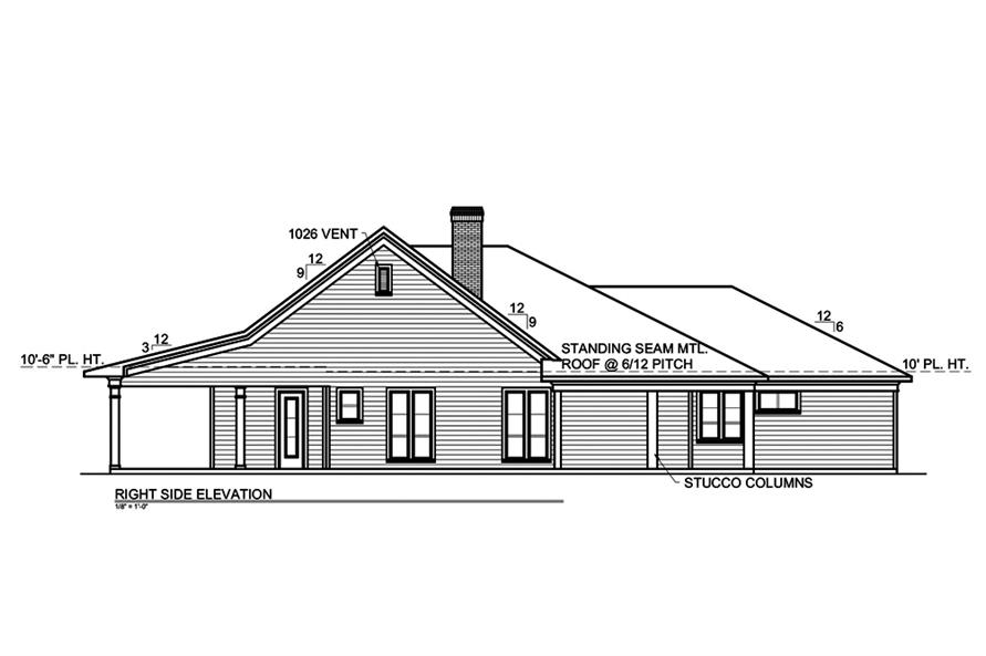Home Plan Right Elevation of this 2-Bedroom,2191 Sq Ft Plan -199-1008