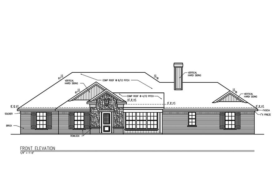 Home Plan Front Elevation of this 3-Bedroom,1694 Sq Ft Plan -199-1010
