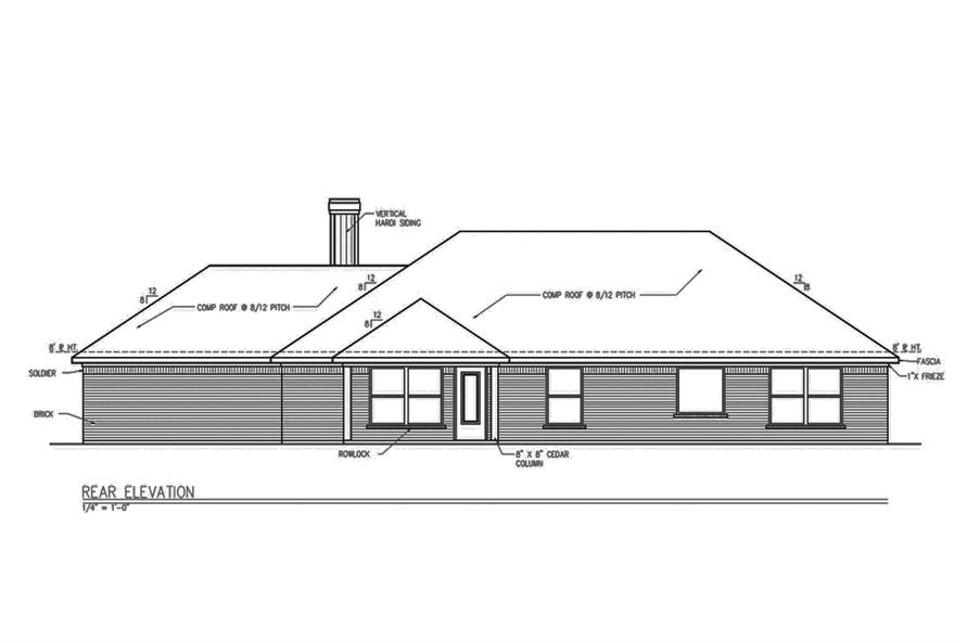 Home Plan Rear Elevation of this 3-Bedroom,1694 Sq Ft Plan -199-1010