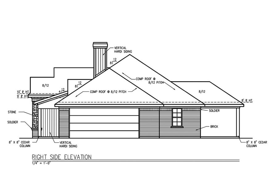 Home Plan Right Elevation of this 3-Bedroom,1694 Sq Ft Plan -199-1010