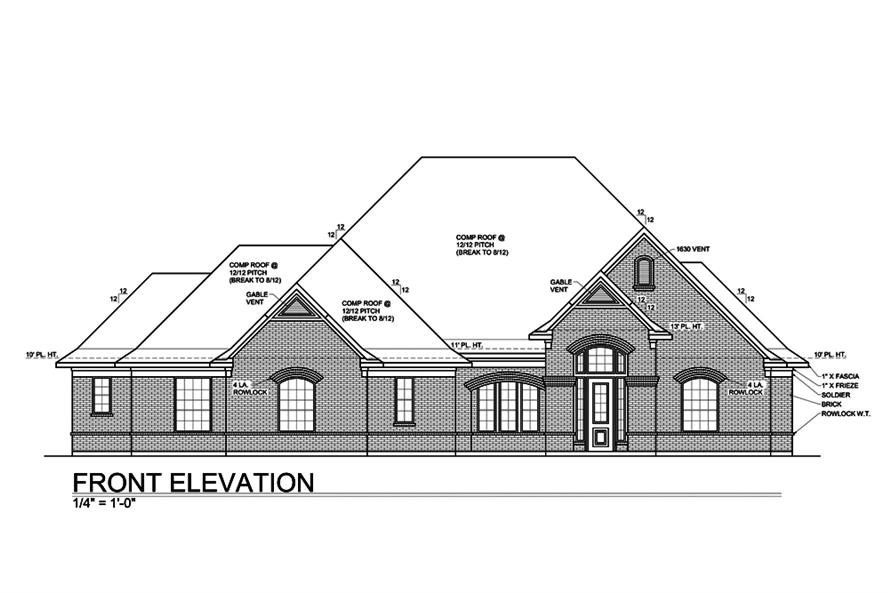 Home Plan Front Elevation of this 4-Bedroom,3227 Sq Ft Plan -199-1011