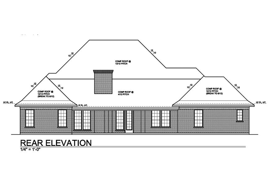 Home Plan Rear Elevation of this 4-Bedroom,3227 Sq Ft Plan -199-1011