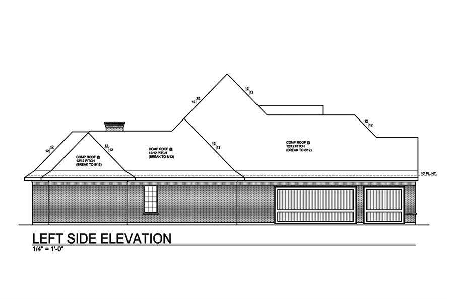 Home Plan Left Elevation of this 4-Bedroom,3227 Sq Ft Plan -199-1011