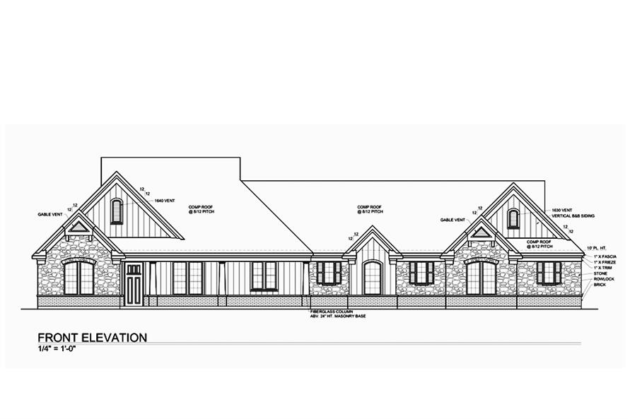 Home Plan Front Elevation of this 4-Bedroom,2717 Sq Ft Plan -199-1012