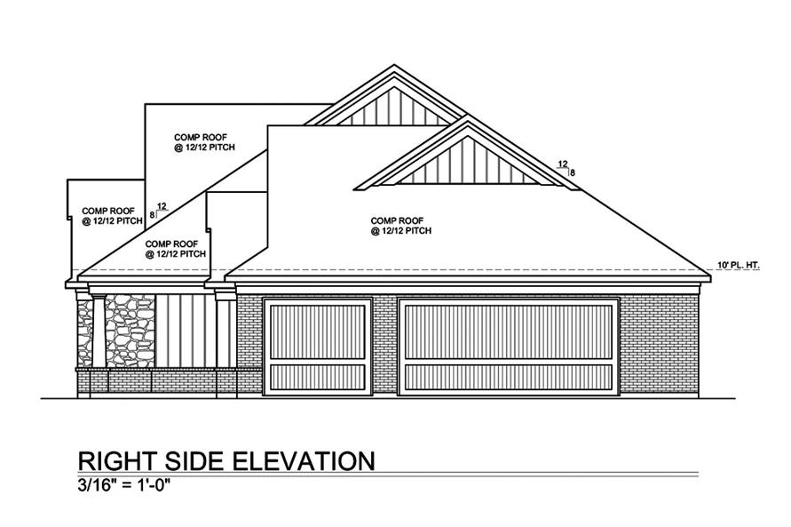 Home Plan Rear Elevation of this 4-Bedroom,2717 Sq Ft Plan -199-1012