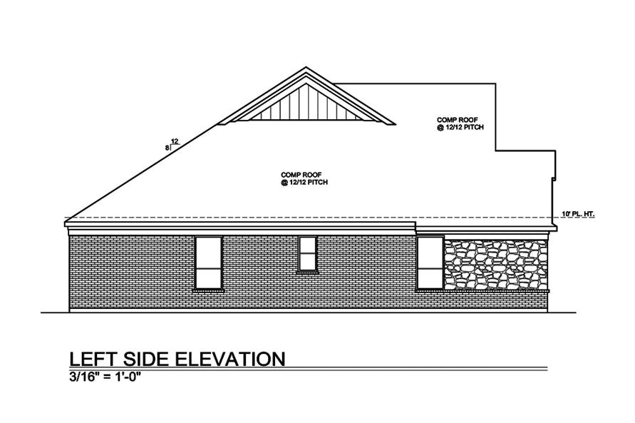 Home Plan Left Elevation of this 4-Bedroom,2717 Sq Ft Plan -199-1012