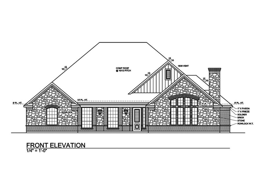 Home Plan Front Elevation of this 4-Bedroom,3000 Sq Ft Plan -199-1013