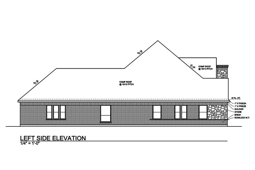 Home Plan Left Elevation of this 4-Bedroom,3000 Sq Ft Plan -199-1013