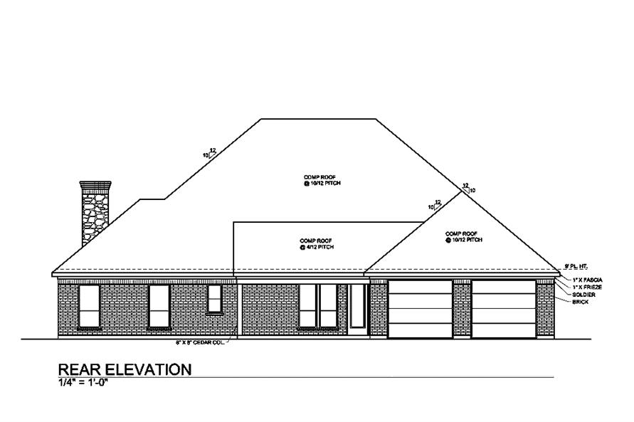 Home Plan Rear Elevation of this 4-Bedroom,3000 Sq Ft Plan -199-1013
