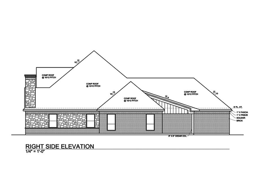 Home Plan Right Elevation of this 4-Bedroom,3000 Sq Ft Plan -199-1013