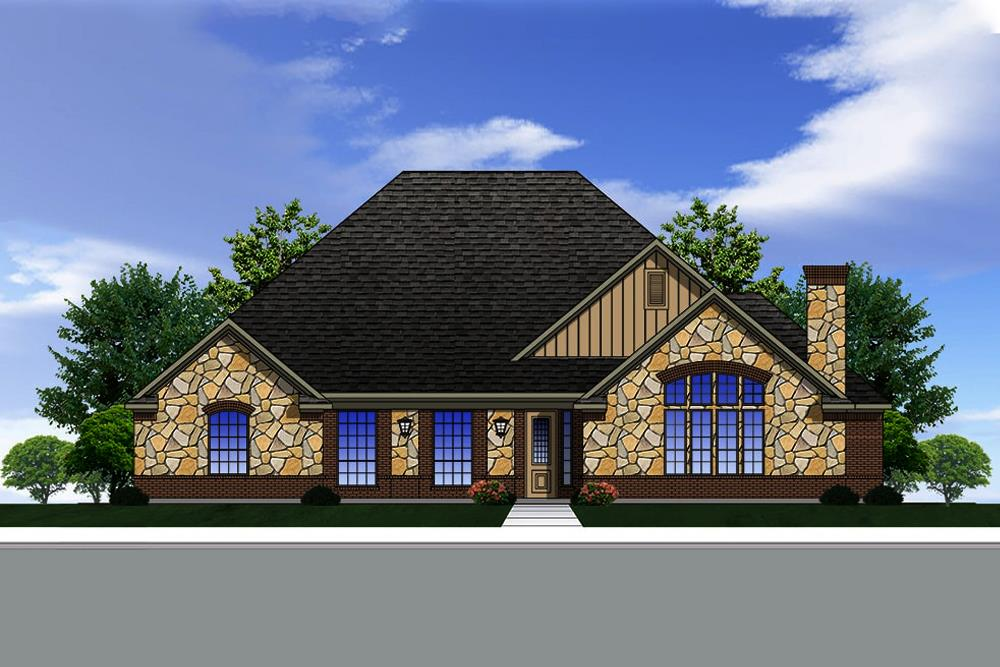Front elevation of Traditional home plan (ThePlanCollection: House Plan #199-1013)
